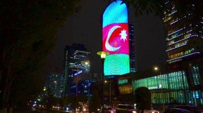 Qazaxıstan paytaxtında Azərbaycan bayrağı dalğalandırıldı - VİDEO