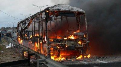 Füzuli rayonunda sərnişin avtobusu yandı
