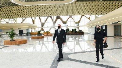 İlham Əliyev və birinci xanım Füzuli Beynəlxalq Hava Limanında yaradılan şəraitlə tanış oldu