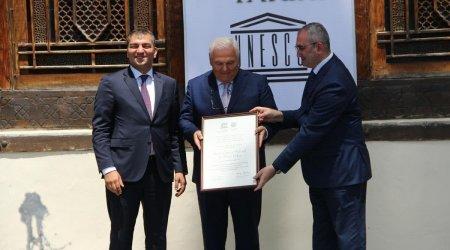 Şəkiyə UNESKO-nun sertifikatı təqdim olundu